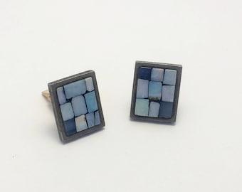 Blue Mosaic Cuff Links