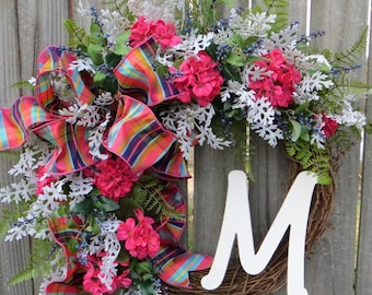 Spring Wreath - Spring Pink Coral Blue Wreath,  Front Door Wreath Decor, Monogram Springtime Wreath, Bright Colors Summer Wreath, Etsy
