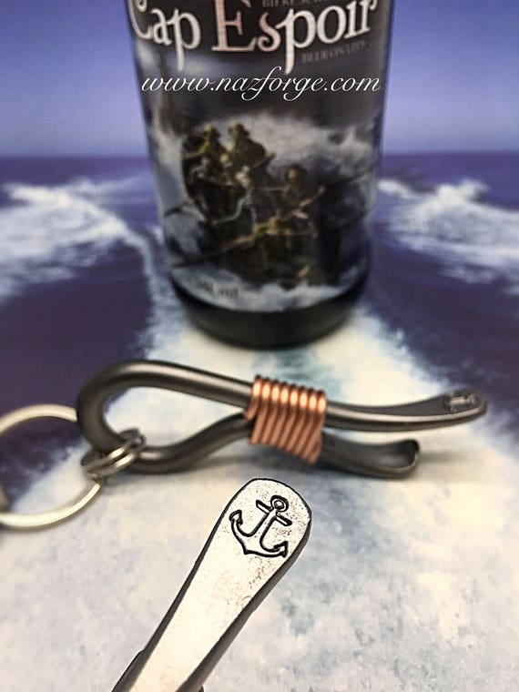 ANCHOR KEYCHAIN Bottle Opener -  Marines - Navy Seal - Marine Corps - Boat -  Personalized Option Available - Hand Forged and Signed by Naz