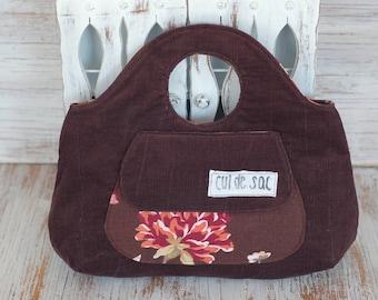 Upcycled bracelet bag, reclaimed fabric hand bag in brown corduroy, small purse wristlet, handmade eco friendly bag, knitting bag