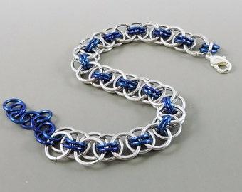 Dark Blue Chainmail Bracelet, Chainmaille Bracelet, Helm Weave Chain Mail Jewelry, Helm Bracelet, Blue Jewelry