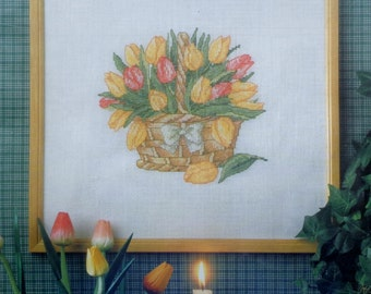 Permin Of Copenhagen | BASKET OF SPRING | Flowers | Counted Cross Stitch Kit