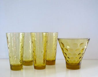 Vintage 5 Piece Set of 4 Hazel Atlas Eldorado Gold Coin Amber Colored Drinking Glasses with Glass Serving Dish/Ice Bucket