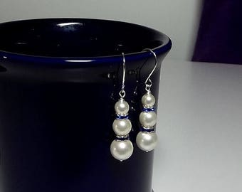 30% OFF SALE thru Mon White and Blue Pearl Earrings , Mothers Day Gift Mom Sister Grandmother Jewelry, Dangle Drop, Cocktail