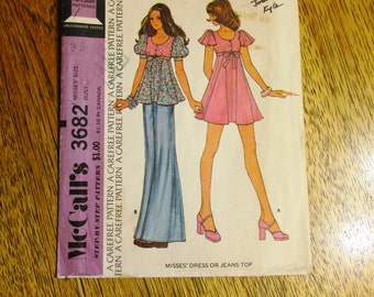 "1970s BOHO Empire Line Mini Dress / Flirty Jean Top w/ Flutter Sleeves - Size 10 (Bust 32.5"") - VINTAGE Sewing Pattern McCalls 3682"