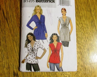 EASY Boho Summer Tops / Unique Twist Front T-Shirt / Tunic Top - Size (8 - 10 - 12 - 14) - UNCUT Sewing Pattern Butterick 5495