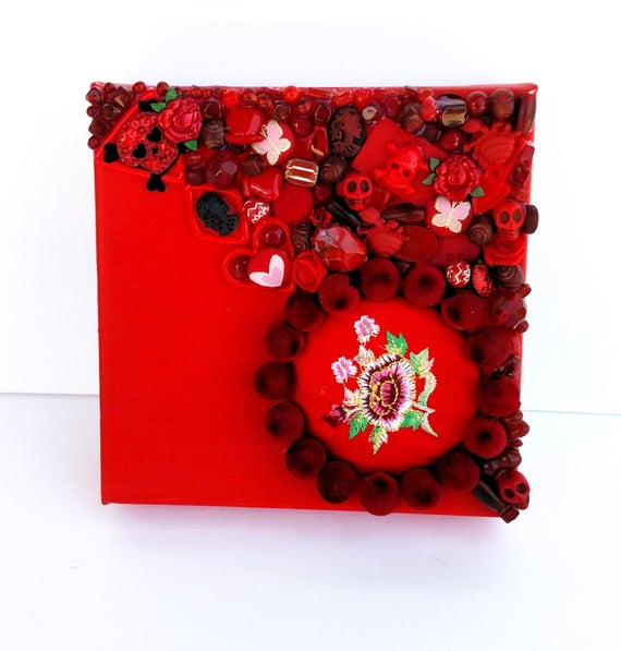 Red Treasure Canvas - Mixed Media Miniature Canvas