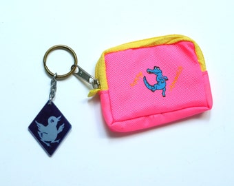 Happy Crocodile and Duck charmed mini pouch