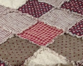 """Handmade Rag Quilt Americana Throw Size Lap Size 46"""" X 46"""" Primitive Americana Prints Handcrafted in Pa READY TO Ship"""