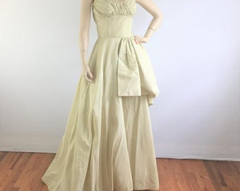 Vintage 50s champagne satin Neiman Marcus couture wedding dress - 1950s sweeping floor length evening gown - small