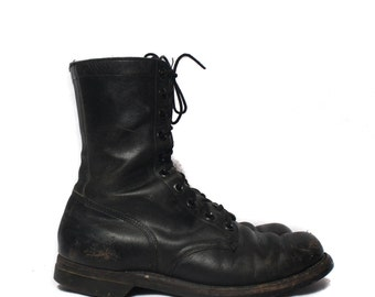 10 R | 1960's Combat Boots Black Military Army Boots