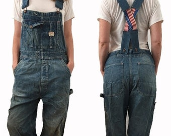 SML | 1960's BIG MAC Penny's Union Made Low Back Sanforized Denim Overalls - Mended