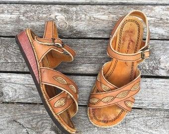 7.5 | 1970's Vintage Women's Burlap & Leather Wedge Heel Sandals