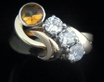 Retro Diamonds Citrine 14k Yellow Gold Ring Estate Mid Century Vintage Gift LAYAWAY Available