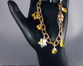 Crystal Bracelet  -  Star Crystal AB, Star Sunflower, Raw Brass Chain, Magnetic Clasp - Size 7.25 - Hand Crafted Artisan Jewelry