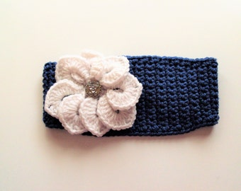 Adjustable Headband/Earwarmer with Flower - Dark Country Blue with White Flower