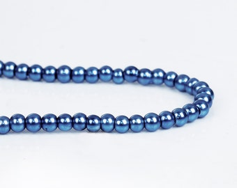 3mm BLUE Round Glass Pearl Beads, double strand, about 270 beads, bgl1601
