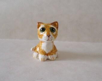 Miniature cat figurine, tiger cat clay  sculpture