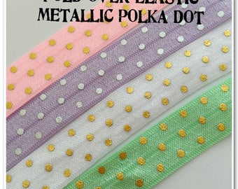 2 Metres of Fold Over Elastic - Polka Dot