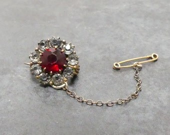 Vintage early 1900's Victorian Ruby Red Garnet and Clear Rhinestone Rosette Brooch Pin