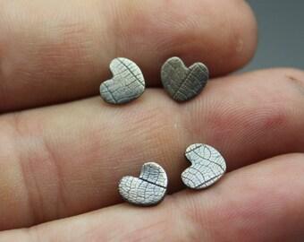 heart earrings - heart jewelry - textured heart - silver heart - stud earrings - leaf imprint earrings - leaf studs - heart studs