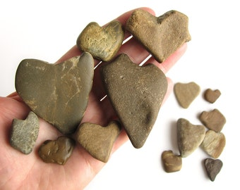 14 Heart Shaped Rocks - Natural River Beach Stones - Valentines Day Decor