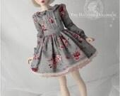 PREORDER MNF grey floral dress set for MSD 1/4 size doll Minifee bjd slim mini