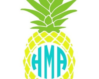Pineapple Decal, Monogram Decal, Pineapple Sticker, Custom Decal, Vinyl Decal, MacBook Decal, Yeti Decal, Car Decal, Monogrammed Vinyl Decal