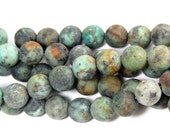 Matte African Turquoise Jasper 10mm round beads -15 inch strand