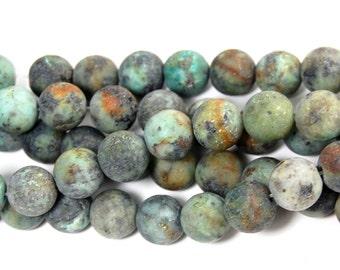 Matte African Turquoise Jasper 10mm round beads -15 inch strand