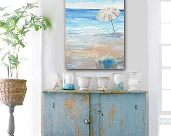 ORIGINAL Large Art Blue Abstract Painting Beach Wall Art Acrylic Painting Summer Home Decor Coastal Wall Decor Umbrella Seascape - Christine