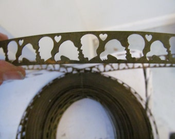 """18 Inches Rare """"In Love"""" Antique Girl And Boy Metal Trim"""
