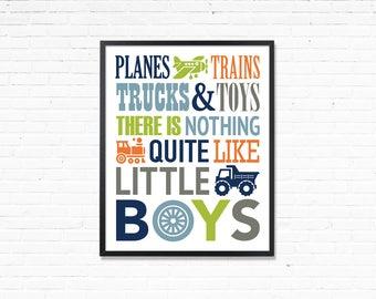 Printable boys room art, Planes trains trucks and toys, navy orange green Nursery Decor, Printable playroom print, Print for boys room