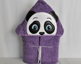 Panda on Purple Hooded Bath Towel