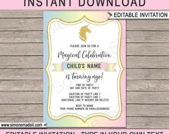 Unicorn Invitation - Unicorn Birthday Party Invite - Printable Template - INSTANT DOWNLOAD with EDITABLE text - personalize at home