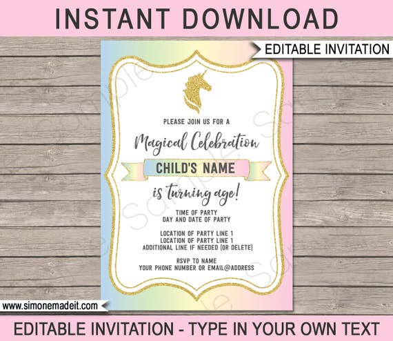 Unicorn invitation unicorn birthday party invite printable il570xn stopboris Choice Image