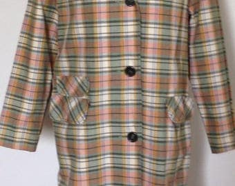 1960's raincoat, velvet collar, plaid