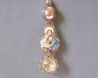 victorian christmas ornament, victorian ornaments, mary ornament, maria ornament, jesus ornament, christ child ornament - DIVINE LOVE
