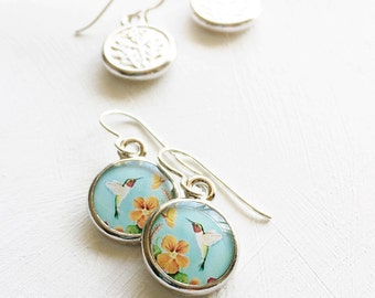Hummingbird Earrings, Colorful Jewelry, Gift for Gardener, Blue and Orange, Gift for Mothers Day,  Garden Jewelry