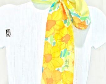 Skinny Scarf with a Scarf Ring, Yellow Daffodil Scarf, Silk Summer Scarf, Etsy, Silk Scarf Handpainted, Miyabi Scaf, Takuyo, 4x35 inch