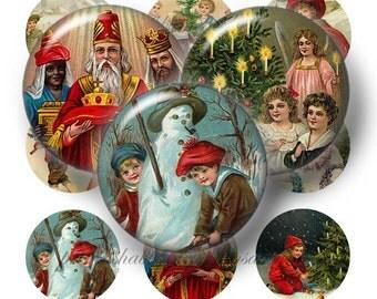 Vintage Christmas, Digital Collage Sheet, Bottle Cap Images, 1 Inch Circle, Instant Download, Digital Download, Printable Images VC3