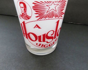 Vintage Houston Texas Jigger - Large Frosted Measuring Shot Glass - Houston Souvenir Landmarks - Guy Gift - Collectible - Man Cave Barware