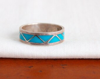 Turquoise Ring Band Size 10 .5 Vintage Mens Jewelry Southwestern Blue Enamel Chevron Triangle Design