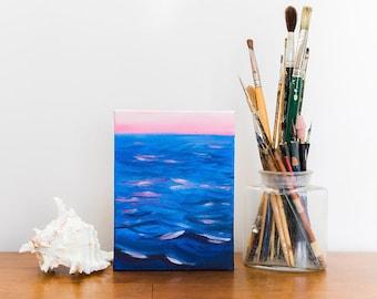 Sunrise Painting, Lake Michigan Painting, Original Oil Painting, Small Art, Small Painting, 6x9 Art, Art Under 100, Affordable Art