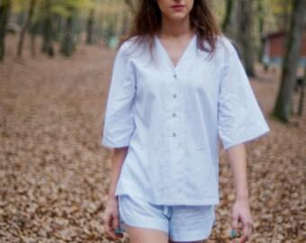 Sleepwear White Long Shirt and Grey Pyjama Shorts