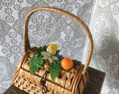 Vintage 1950's 60's Wicker Purse with Fruit Detail