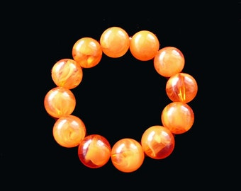 Marbled Lucite Bracelet Orange Tangerine Beaded Retro