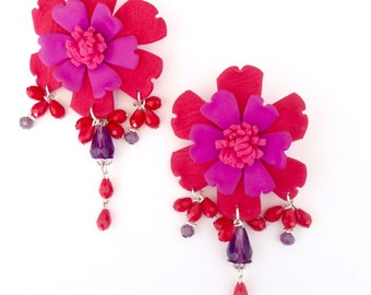 Large red flower statement earrings with beads