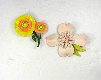 Vintage ENAMEL FLOWER BROOCH Set/2 Hibiscus & Poppy Floral Pin