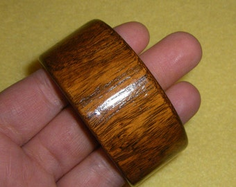 Vintage Wide Wood Bangle Bracelet, wood grain bracelet, shiny wooden bangle